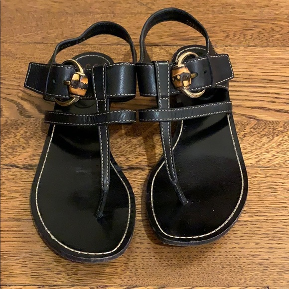 e120274d6 Gucci Shoes | Lifford Black Flat Sandals With Bamboo | Poshmark